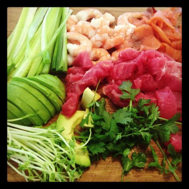 ingredients for nori rolls!
