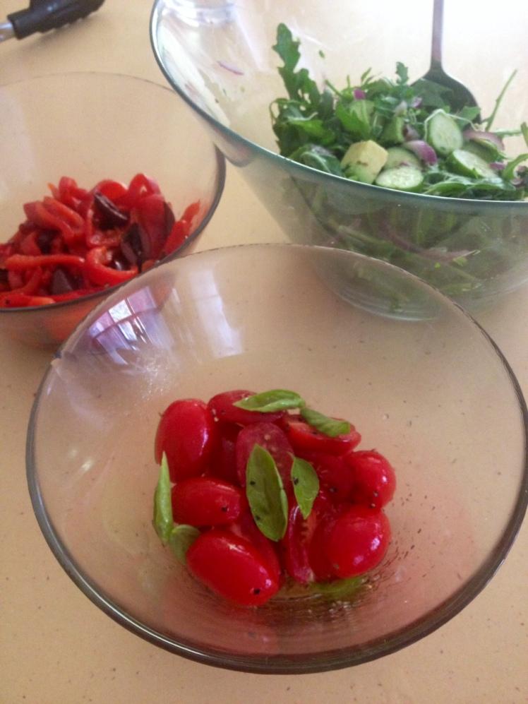 Cherry tomatoes with basil & green salad with my home grown cucumbers & alafalfa