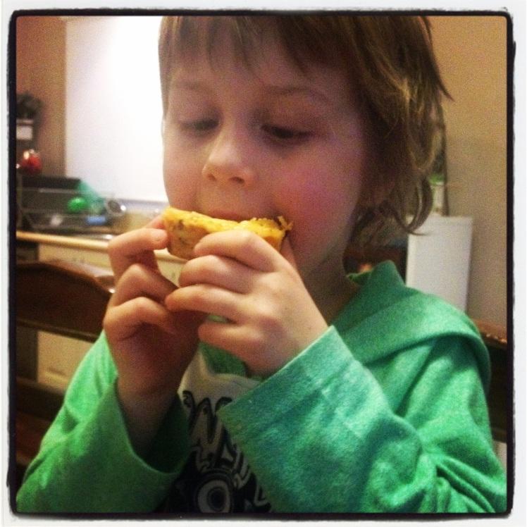 Will loving his spaghetti muffin!