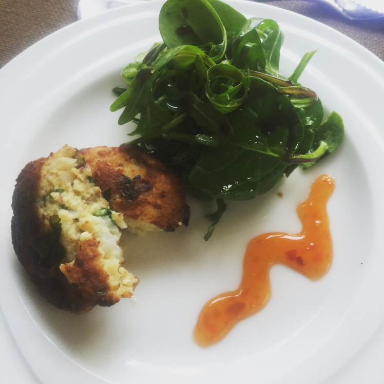 Fish cake, rocket salad, sweet chill sauce!