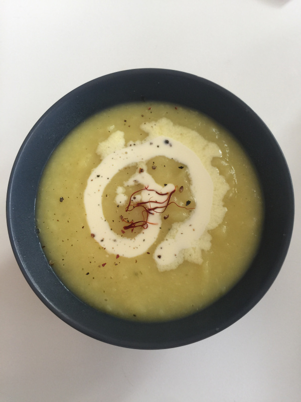 The finished product, parsnip & saffron soup served with a spash of cream!