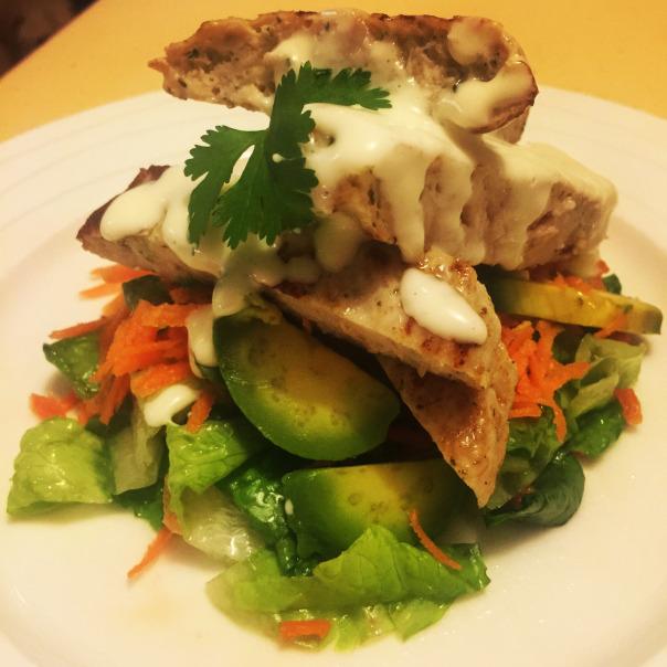 Chicken pattie, & avocado salad drizzled with lemon & garlic aioli!